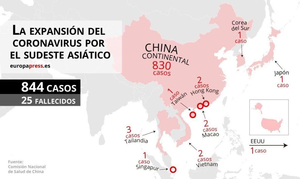 Mapa con casos de coronavirus en el sudeste asiático