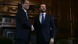 El presidente encargado de Venezuela, Juan Guaidó , se reúne con al presidente del PP, Pablo Casado