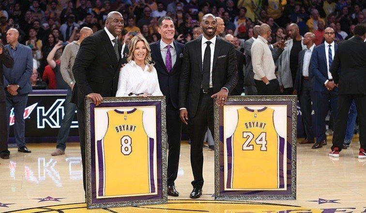 Los Lakers retiran los dorsales de Kobe Bryant