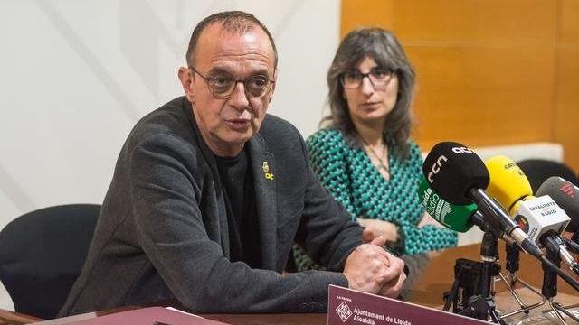 El alcalde de Lleida, Miquel Pueyo, y Sandra Castro