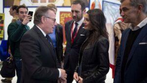 El presidente de la Ciudad Autónoma de Melilla y coordinador territorial de Cs, Eduardo de Castro, junto a la portavoz de Cs en el Congreso, Inés Arrimadas