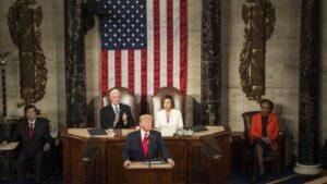 El presidente de Estados Unidos, Donald Trump, pronuncia su tercer discurso sobre el Estado de la Unión