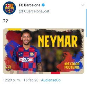 Pantallazo del falso fichaje de Neymar Jr. Por el Barça, tras el ciberataque de OurMine
