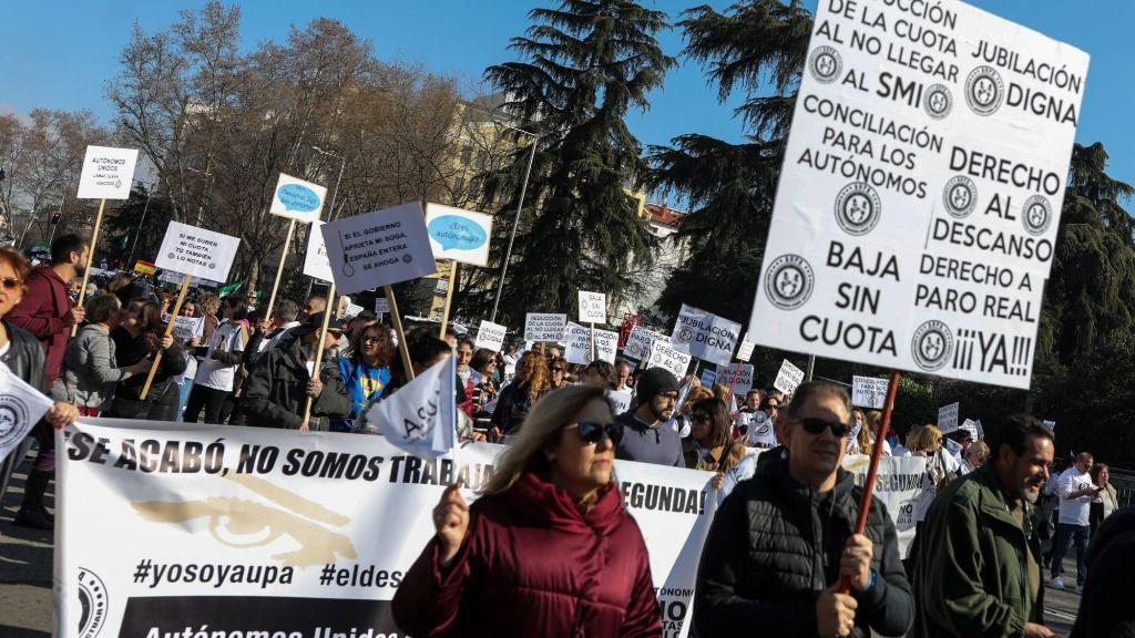 Autónomos se manifiestan en Madrid