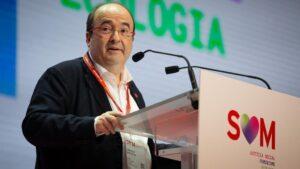 El primer secretario del PSC, Miquel Iceta, durante su intervención en el Congreso del PSC en el que se presenta a la reelección como primer secretario del partido, en el Palau de Congressos de Catalunya, en Barcelona a 13 de diciembre de 2019