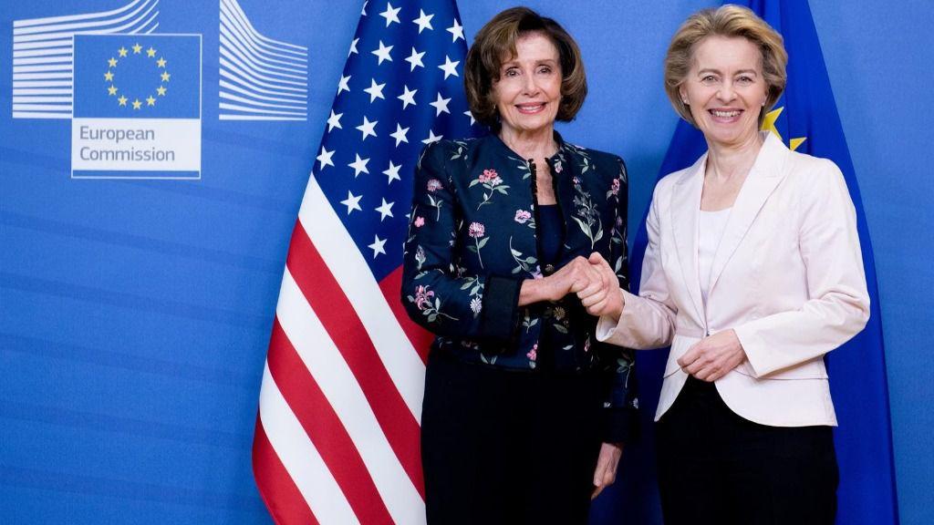La presidenta de la Cámara de Representantes de Estados Unidos, Nancy Pelosi, y la presidenta de la Comisión Europea, Ursula von der Leyen