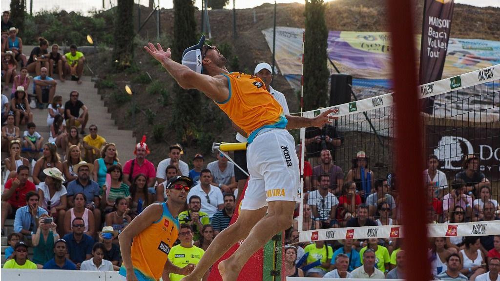 Pablo Herrera y Adrián Gavira, durante un Campeonato de España de voley playa