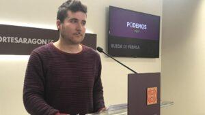 El portavoz de Podemos Aragón, Nacho Escartín