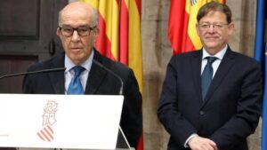 Carmelo Ezpeleta y Ximo Puig, durante un acto del GP de la Comunitat Valenciana