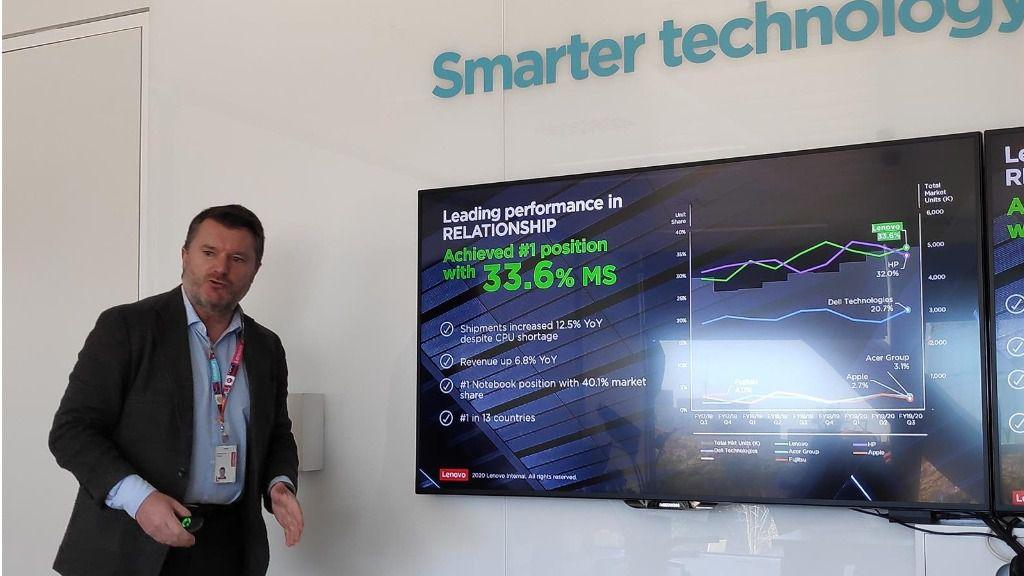 El director general de Lenovo Iberia, Alberto Ruano, en la presentación de los resultados de 2019