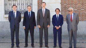 Felipe VI, Felipe González, José María Aznar, José Luis Rodríguez Zapatero y Mariano Rajoy