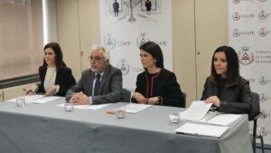 Nagore Azuabarrena, Melchor Izquierdo, Itziar Francín y Teresa Arnal durante la presentación del informe sobre igualdad de género en la profesión de Arquitectura Técnica