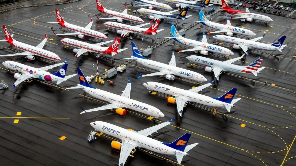 Aviones 737 MAX varados en Seattle