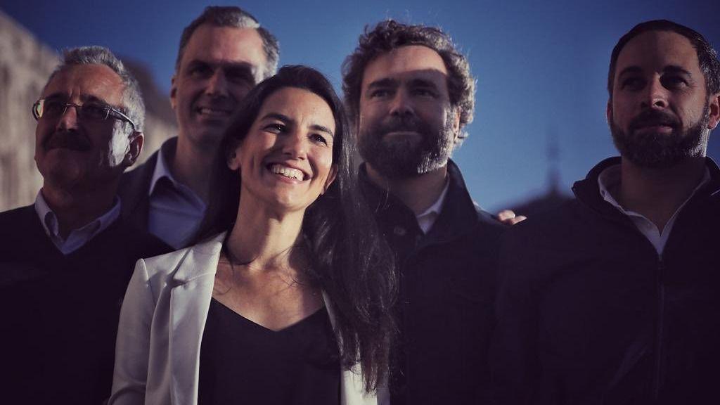 Rocío Monasterio junto a Iván Espinosa de los Monteros, Ortega Smith y Santiago Abascal