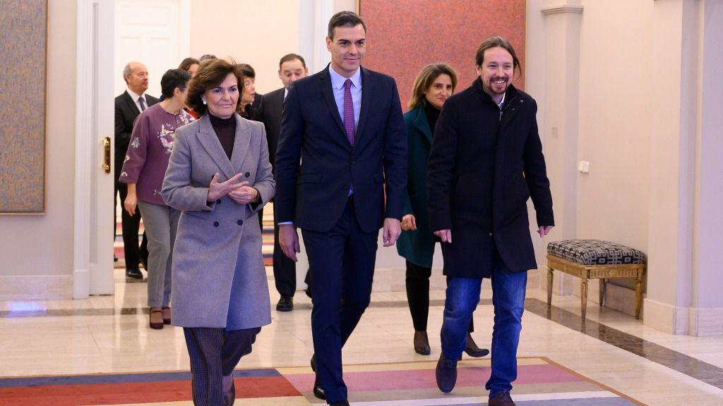 Pedro Sánchez, Pablo Iglesias y Carmen Calvo.