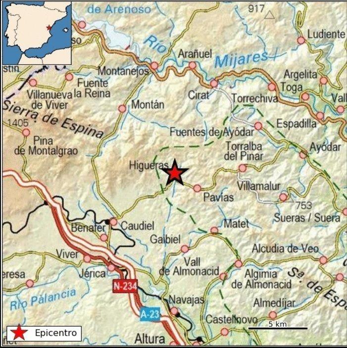 Terremoto de magnitud 3 con epicentro al oeste de Higueras