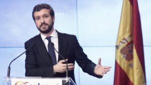 El presidente del Partido Popular, Pablo Casado, en rueda de prensa para hablar del balance del año político que hace su partido, en Madrid (España) a 30 de diciembre de 2019