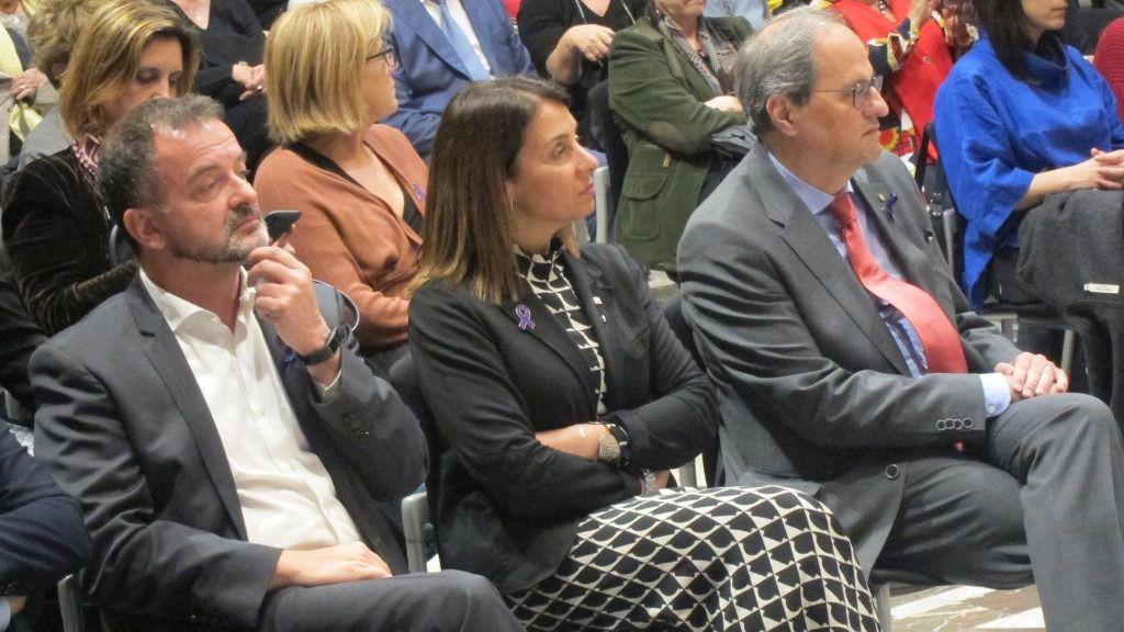 Los consellers de la Generalitat Alfred Bosch, Meritxell Budó y el presidente Quim Torra