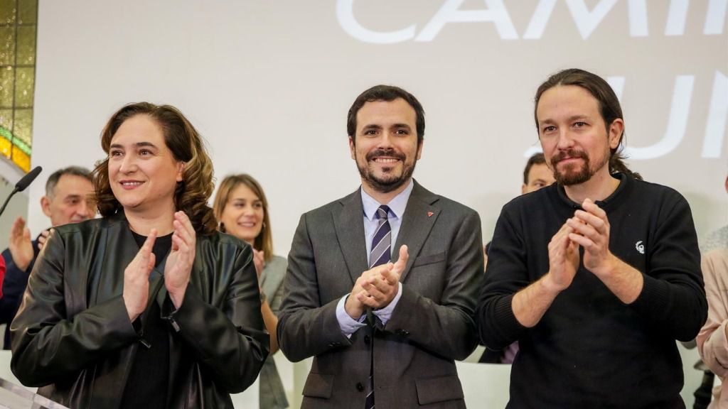 Ada Colau, Alberto Garzón y Pablo Iglesias, en el encuentro confederal de Unidas Podemos