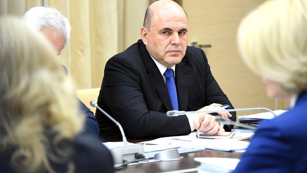 Mijail Mishustin en una reunión con el Gobierno ruso en la residencia presidencial de Novo Ogaryovo