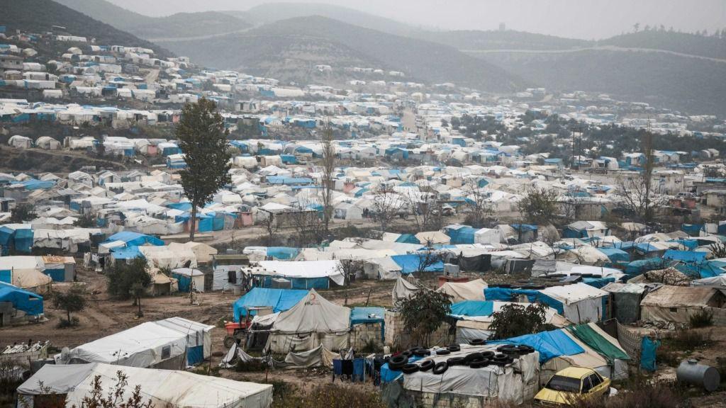 Imagen aérea de un campo de refugiados en la provincia siria de Idlib, el 12 de diciembre de 2019