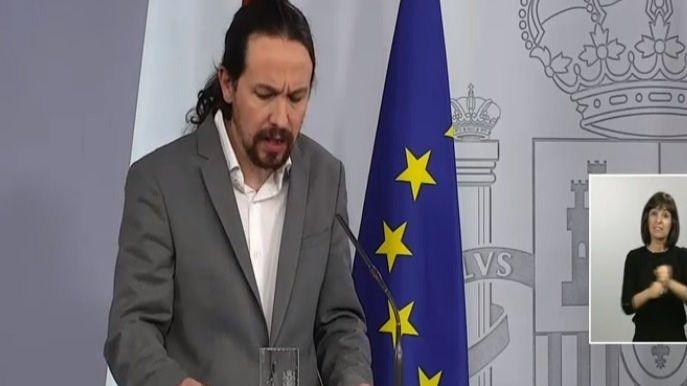 Rueda de prensa del vicepresidente de Derechos Sociales del Gobierno, Pablo Iglesias, tras el Consejo de Ministros
