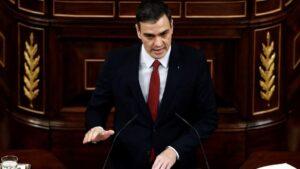 El presidente del Gobierno, Pedro Sánchez, en el Pleno del Congreso