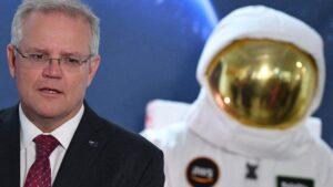 El primer ministro de Australia, Scott Morrison, durante la presentación de la Agencia Espacial australiana