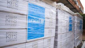 Reparto de suministros de UNICEF en España