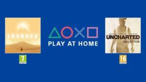 Videojuegos de Play At Home de PlayStation, con Journey a la izquierda y Uncherted: The Nathan Drake Collection a la derecha.