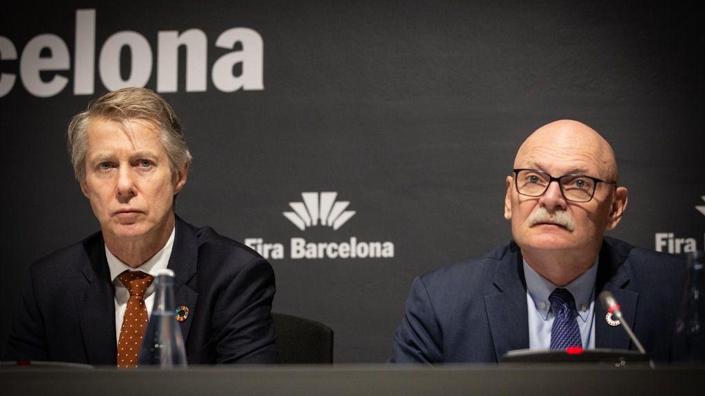 El director general de GSM Association, Mats Granryd y el consejero delegado de GSMA, John Hoffman en rueda de prensa