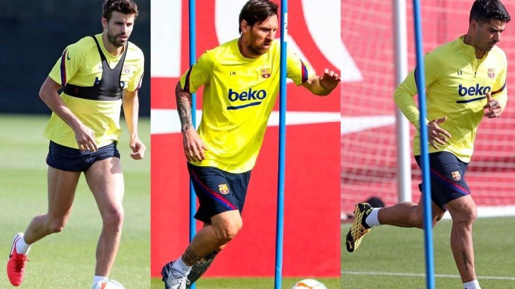 Gerard Piqué, Leo Messi y Luis Suárez entrenan, en solitario, en la Ciutat Esportiva Joan Gamper tras 56 días de inactividad