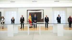 Pedro Sánchez, Unai Sordo, Pepe Álvarez, Antonio Garamendi y Gerardo Cuerva