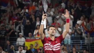 Novak Djokovic celebra una victoria en la final de la ATP Cup