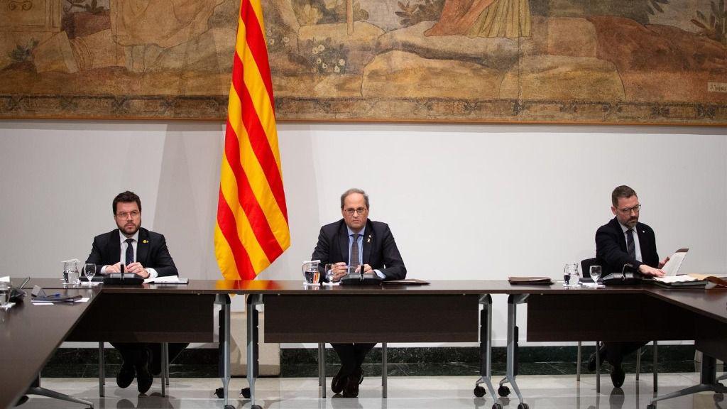 El vicepresidente de la Generalitat, Pere Aragonès; y el presidente de la Generalitat, Quim Torra