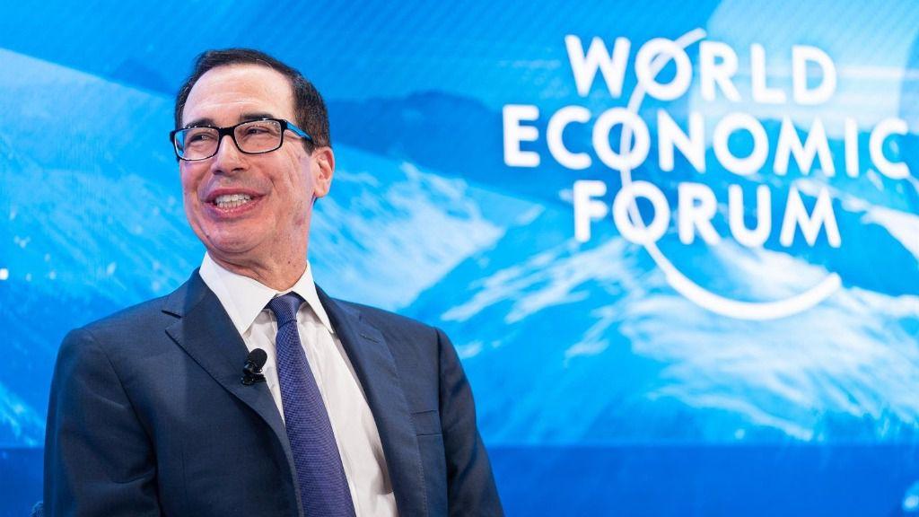 Steven Mnuchin, , secretario del Tesoro de EEUU, durante su participación en el Foro Económico Mundial en Davos