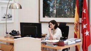 Isabel Díaz Ayuso, en la videoconferencia de dirigentes autonómicos