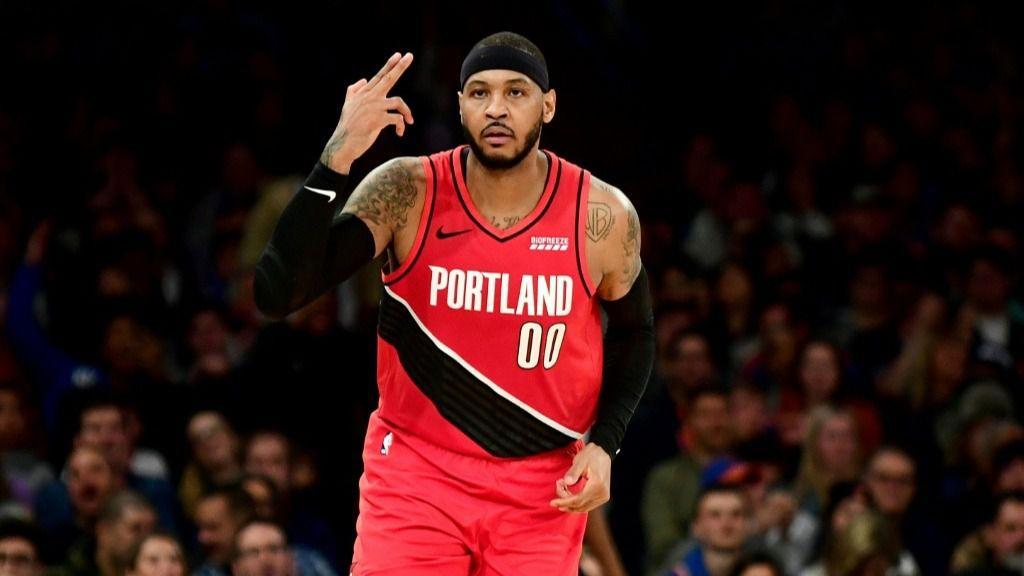 Carmelo Anthony, de los Portland Trail Blazers, en el segundo tiempo del partido de la NBA contra los New York Knicks jugado el 1 de enero de 2020 en Nueva York