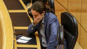 El vicepresidente segundo del Gobierno y ministro de Derechos Sociales y Agenda 2030, Pablo Iglesias, durante un pleno de control al Gobierno en el Senado