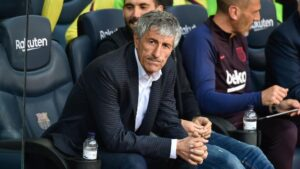 El entrenador del FC Barcelona, Quique Setién