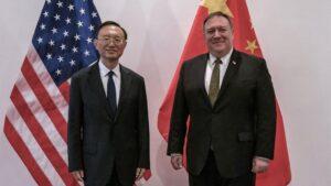 El secretario de Estado de Estados Unidos, Mike Pompeo, y el mimbro del Buró Político del Comité Central del Partido Comunista de China (PCCh) Yang Jiechi