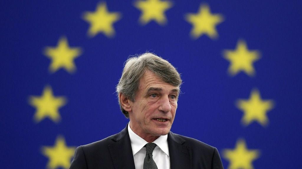 El presidente del Parlamento Europeo, David-Maria Sassoli, en un debate en Estrasburgo, Francia, el 18 de diciembre de 2019