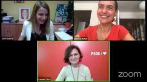 Inauguración telemática de la Escola Feminista Dolors Renau, con Sònia Guerra, Meritxell Batet y Carmen Calvo
