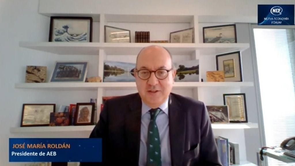 El presidente de la AEB, José María Roldán, en un acto online de Nueva Economía Forum.