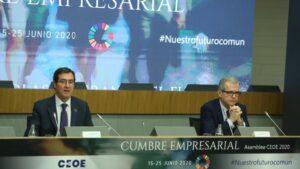 El presidente de la CEOE, Antonio Garamendi, y el presidente de Inditex, Pablo Isla