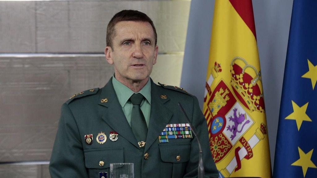 El jefe del Estado Mayor de la Guardia Civil, José Manuel Santiago Marín, en una rueda de prensa en Moncloa por la crisis del Covid-19