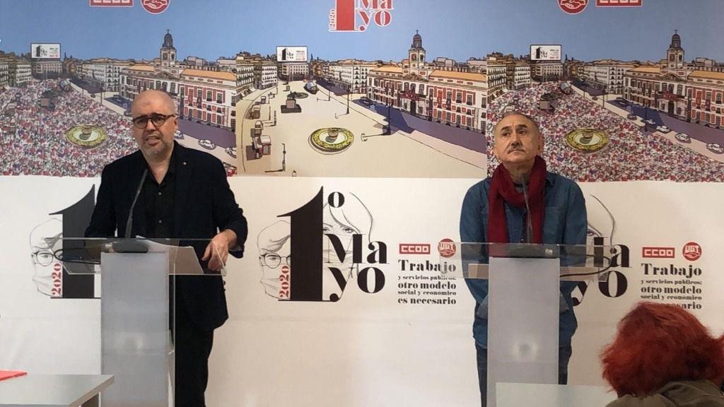 El secretario general de CCOO, Unai Sordo, y el de UGT, Pepe Álvarez