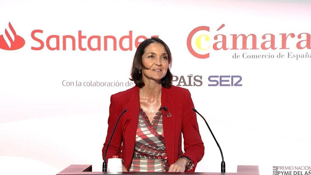 La minitra de Industria, Comercio y Turismo, Reyes Maroto, durante al entrega del Premio Nacional Pyme del Año