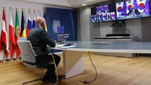 Charles Michel en la cumbre por videoconferencia con el presidente surcoreano, Moon Jae In
