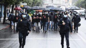 Manifestación de los trabajadores de Nissan Barcelona en Santander.